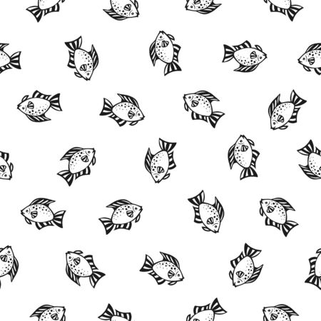 Seamless vector pattern of doodle fishes. Black on white backgground