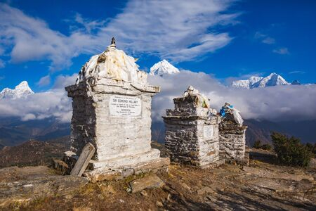 Edmund Hillary Monument in the Nepalese Himalayan Mountains 写真素材
