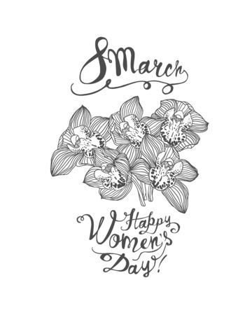 8 march. Happy Women Day. Vector congratulation card with orchid flowers bouquet  イラスト・ベクター素材
