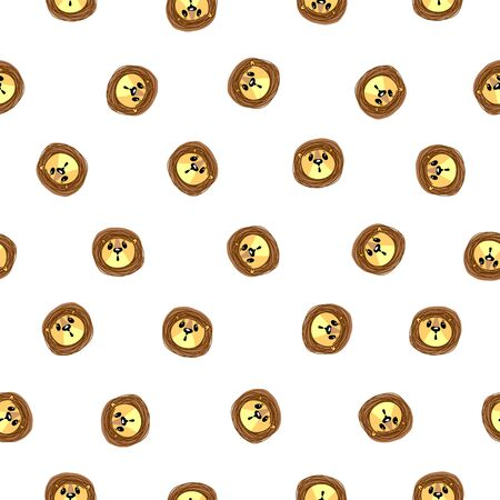 Vector seamless pattern. Muzzle of a lion on white background