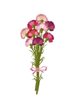 Bouquet of nine vector flat carnation flowers isolated on white background Foto de archivo - 138296613