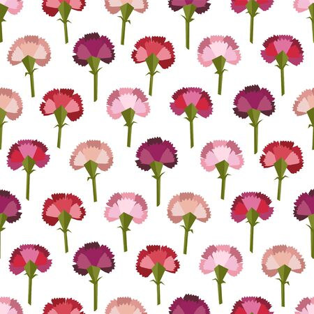 Seamless pattern of vector flat carnation flowers on white background  イラスト・ベクター素材