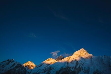 Sunset view of the Nirekha, Everest, Lobuche, Nuptse from Kala Patar Mount. Nepal
