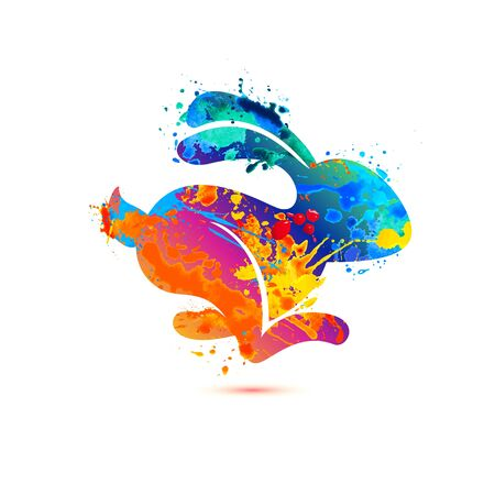 Running hare vector icon. Watercolor splash paint illustration  イラスト・ベクター素材