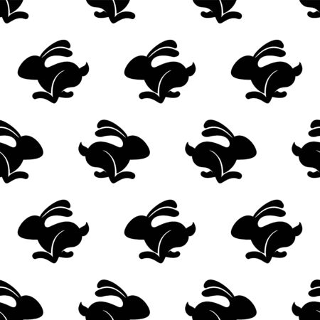 Seamless vector pattern of running hare. Black on white  イラスト・ベクター素材