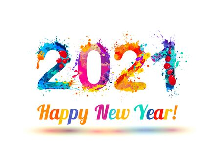 Congratulation card. Happy New Year 2021. Splash paint letters