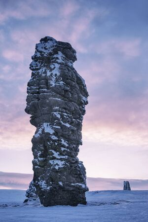 Weathering post on the Manpupuner plateau, Komi Republic, Russia