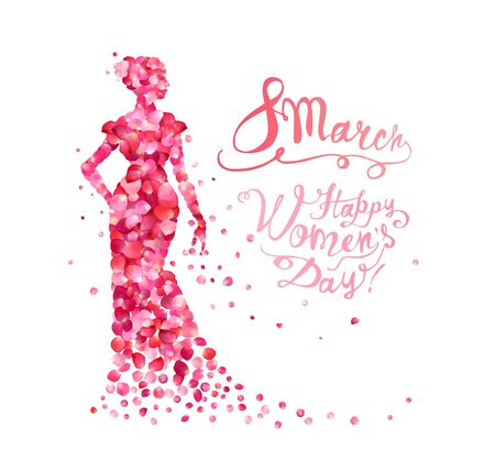8 march. Happy Women Day. Silhouette of a woman of pink rose petals
