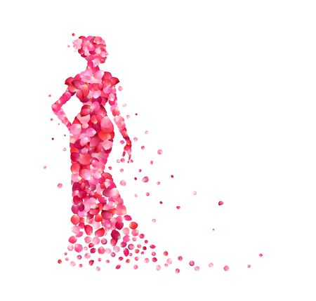 Silhouette of a woman in dress of pink rose petals