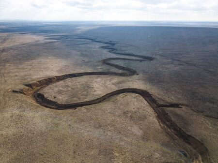 Ravine in the steppes of Kalmykia. Aerial view landscape 写真素材