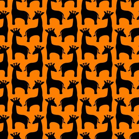 Seamless vector pattern of giraffe. Black silhouettes on orange background  イラスト・ベクター素材
