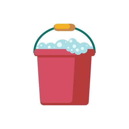 Vector bucket on white background. Cleaning Icon  イラスト・ベクター素材
