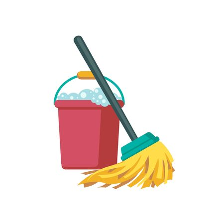 Vector bucket and mop on white background. Cleaning Icon  イラスト・ベクター素材