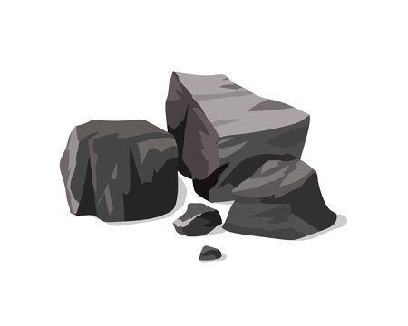 A pile of black coal on a white background