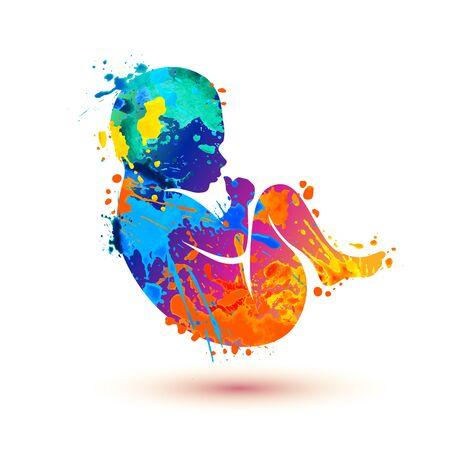 Newborn silhouette. Vector baby symbol of splash paint