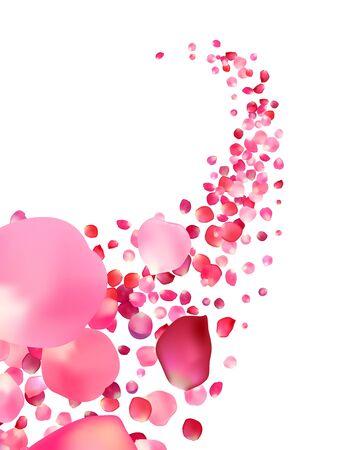Vector white background with pink rose petals vortex