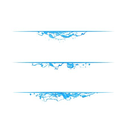 Page dividers of blue splash paint. Vector