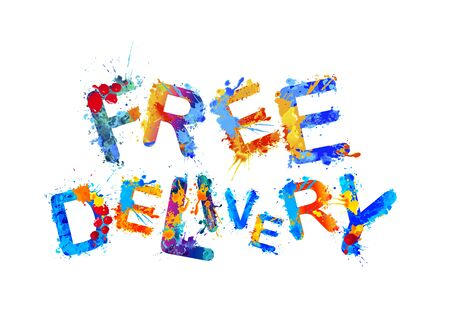 Free delivery. Vector word of colorful splash paint letters Foto de archivo - 143585435
