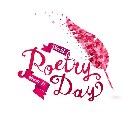 World Poetry Day. March 21. Hand written vector words