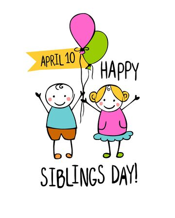 Holiday April 10. Happy Siblings day. Little people in the children's style.