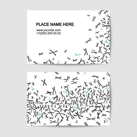 Visit card vector template with xy chromosomes background