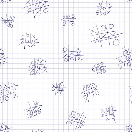 Seamless vector pattern tic-tac-toe game on a sheet of notebook