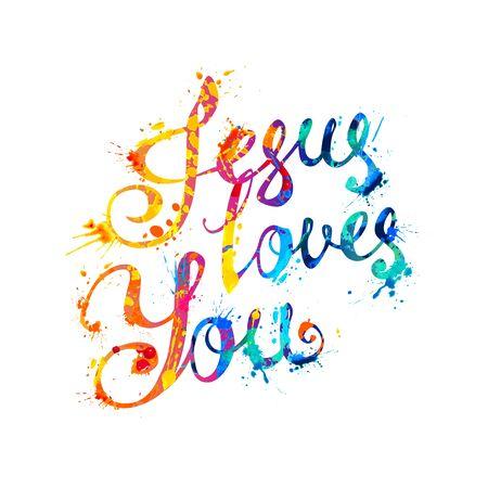 Jesus loves you. Vector inscription of calligraphic splash paint letters Vector Illustration