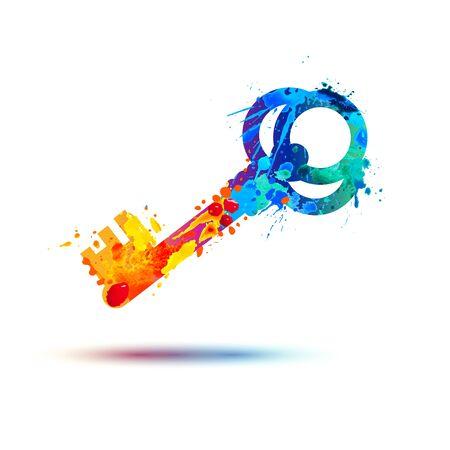Icône clé. Symbole de peinture splash aquarelle vecteur