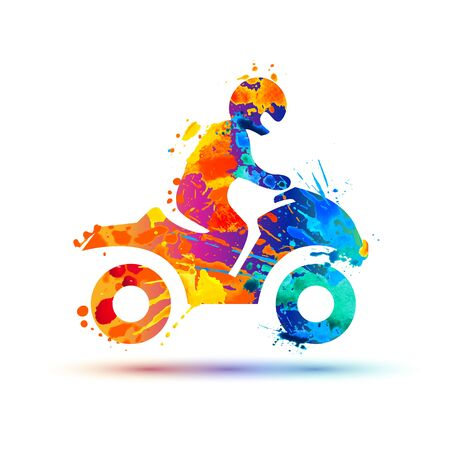 Man on a snowmobile silhouette. Vector splash paint icon