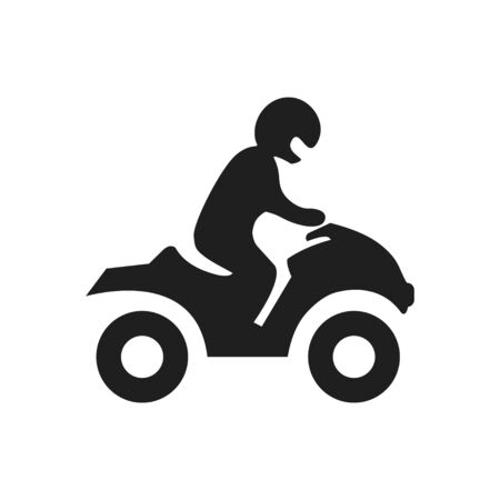 Man on a ATV silhouette. Vector icon black on white Ilustração