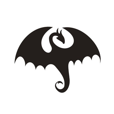 Dragon silhouette vector icon black on white