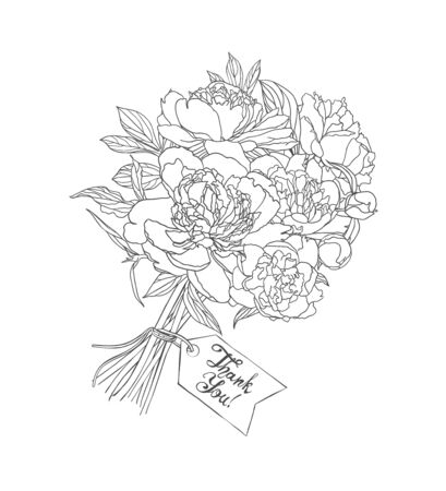 Thank You vector card with a bouquet of peony flowers