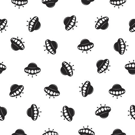 Seamless vector pattern of Ufo Flying saucer black on white Фото со стока - 147326200