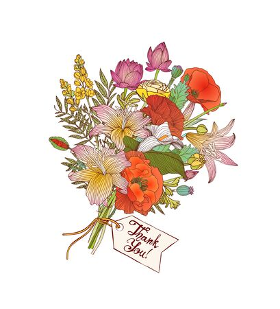 Thank You vector card with a bouquet of flowers Ilustrace