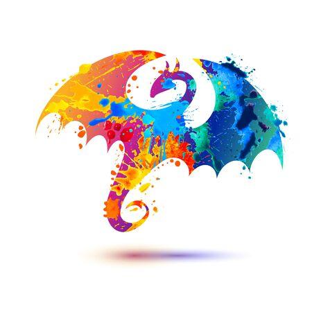 Dragon silhouette vector splash paint icon on white background
