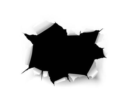 Trou noir déchiré de vecteur sur un fond blanc d'une feuille de papier