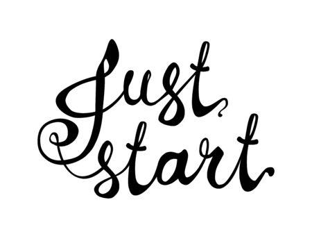 Just start. Vector inscription of calligraphic letters Иллюстрация