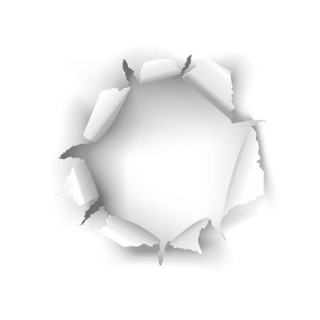 Vector torn white paper hole on a white background Vektorgrafik