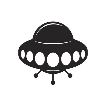 Flying saucer sign. Ufo vector icon black on white Vectores