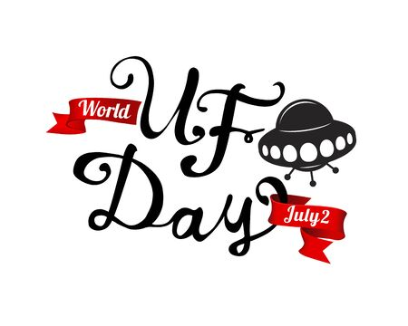 World UFO day. July 2. Flying saucer. Vector