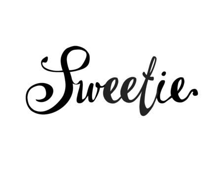 Sweetie. Hand written doodle vector word on white background