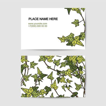 visit card vector template with ivy pattern Ilustração