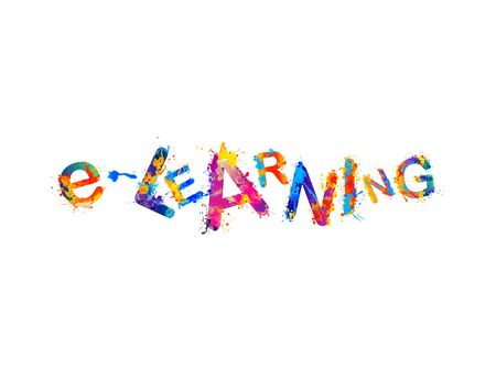 E-learning. Word of colorful splash paint vector letters 向量圖像