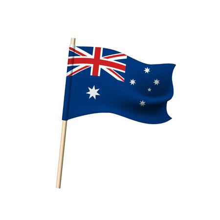 Australia flag, red and white crosses and stars on blue background. Vector illustration