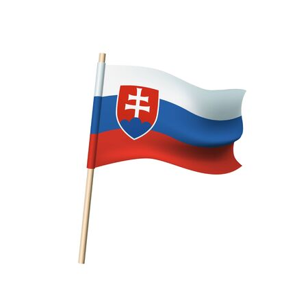 Vector flag of Slovakia. Tricolor: white, blue and red stripes Illustration