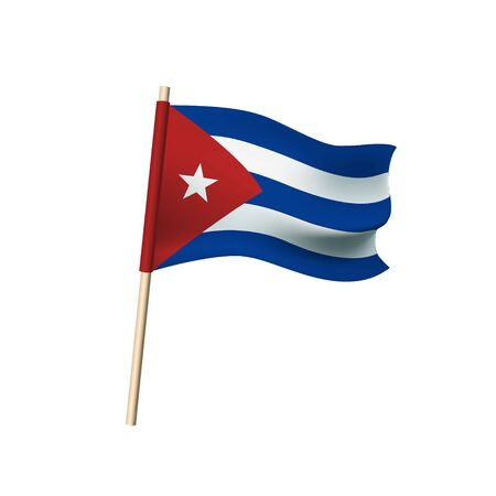 Cuba flag (red triangle with star, white and blue stripes) on white background. Vector illustration