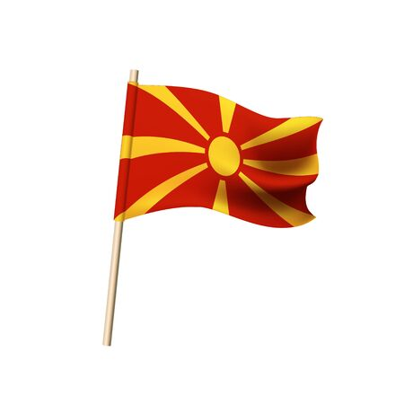Flag of Macedonia. Yellow sun on red background. Vector illustration