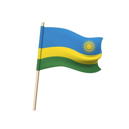 Rwanda flag. Yellow sun on blue, yellow and green stripes. Vector illustration