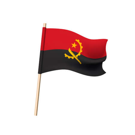 Angola flag. Half of gear, machete and star on red and black background. Vector illustration