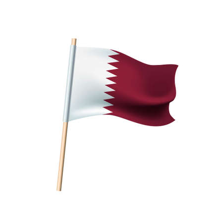 Qatar maroon and white flag on white background. Vector illustration